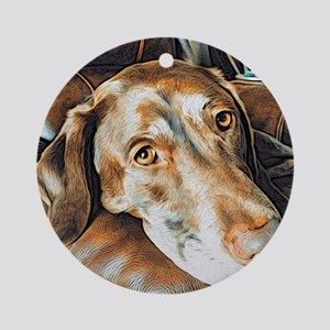 Chocolate Lab, Head on Sofa Round Ornament