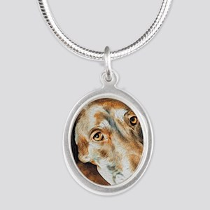 Chocolate Lab, Head on Sofa Silver Oval Necklace