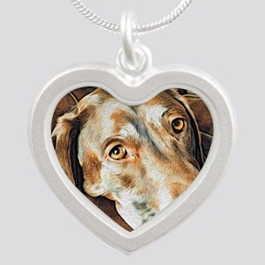 Chocolate Lab, Head on Sofa Silver Heart Necklace