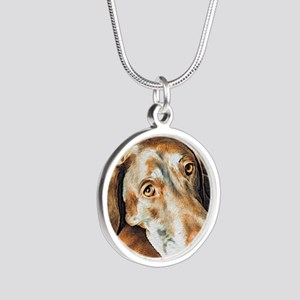 Chocolate Lab, Head on Sofa Silver Round Necklace