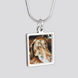 Chocolate Lab, Head on Sof Silver Square Necklace