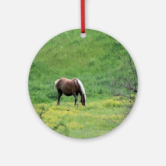 Amish Draft Horse Round Ornament