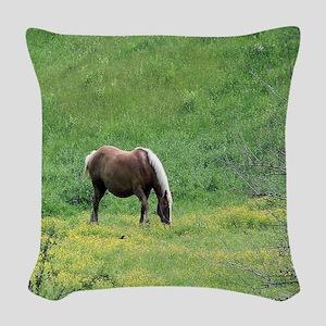 Amish Draft Horse Woven Throw Pillow