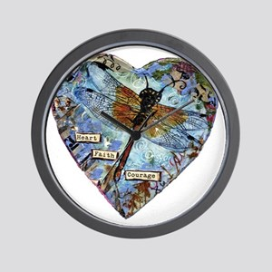 heart faith courage Wall Clock