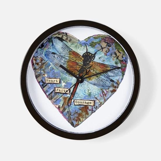 heart faith courage Wall Clock