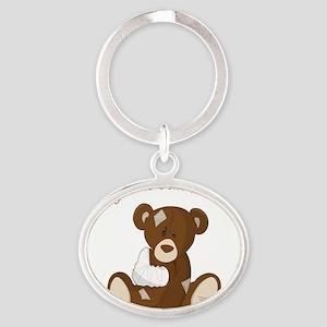 Cute Sick Teddy Infant Design Oval Keychain