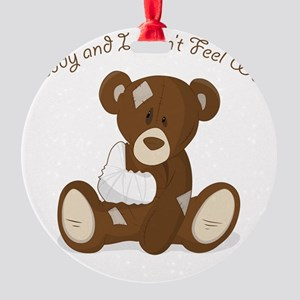 Cute Sick Teddy Infant Design Round Ornament