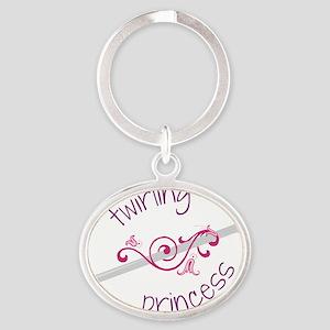 Twirling Princess Oval Keychain
