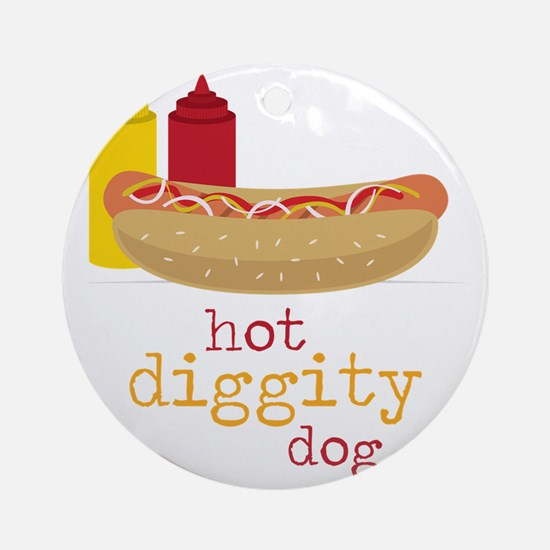 Hot Diggity Round Ornament
