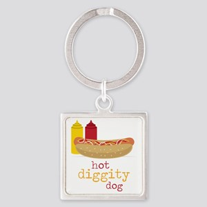 Hot Diggity Square Keychain