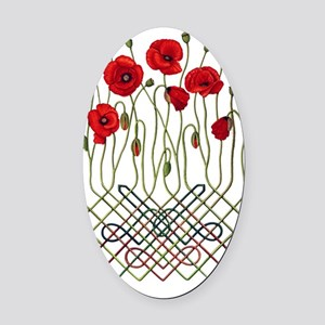 Celtic Poppies Oval Car Magnet