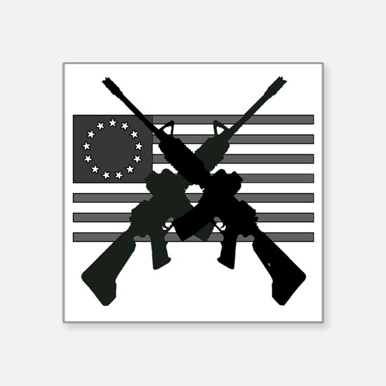 "AR-15 and Revolutionary Fla Square Sticker 3"" x 3"""