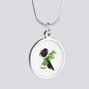 Curious watercolor Magpie Bird Nature Art Silver R