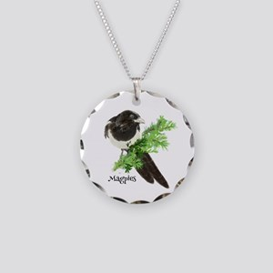 Curious watercolor Magpie Bird Nature Art Necklace