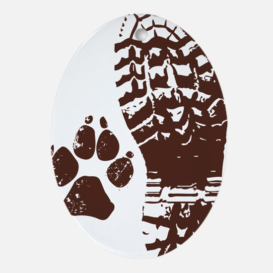Hiking Boot n Paw Sticker Oval Ornament