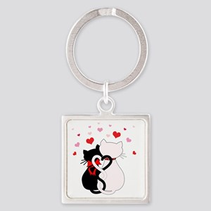 Love Cats Square Keychain