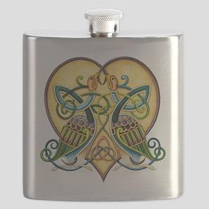 Celtic Birds in a Heart Flask