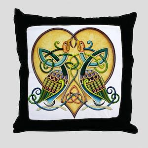 Celtic Birds in a Heart Throw Pillow