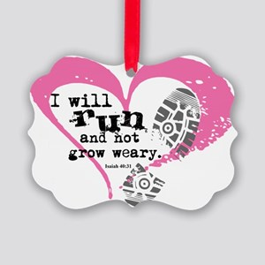 Run and Not Grow Weary Picture Ornament