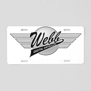 Logo Greyscale White URL Aluminum License Plate