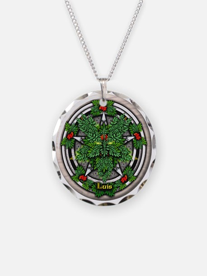 Rowan Celtic Greenman Pentac Necklace Circle Charm