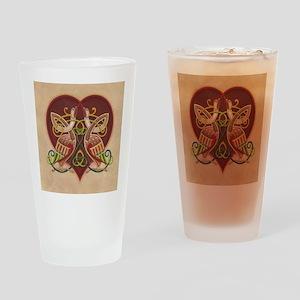 Celtic Birds in Heart Drinking Glass