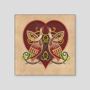 """Celtic Birds in Heart Square Sticker 3"""" x 3"""""""
