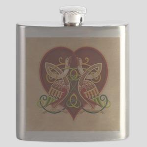 Celtic Birds in Heart Flask