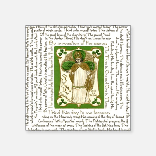 "St. Patricks Breastplate Sq Square Sticker 3"" x 3"""