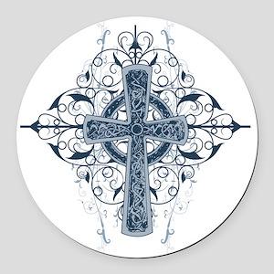 Celtic Cross Round Car Magnet