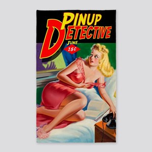 Pinup Detective Pulp Magazine Cover 3'x5' Area Rug