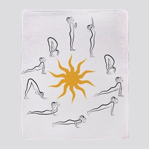 yoga sun salutation Throw Blanket