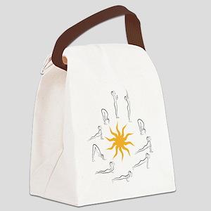 yoga sun salutation Canvas Lunch Bag