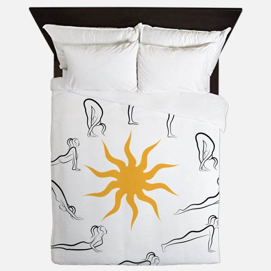 yoga sun salutation Queen Duvet