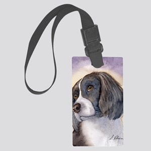 Springer spaniel waiting for a w Large Luggage Tag