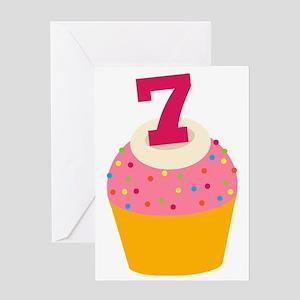 7th Birthday Cupcake Greeting Card