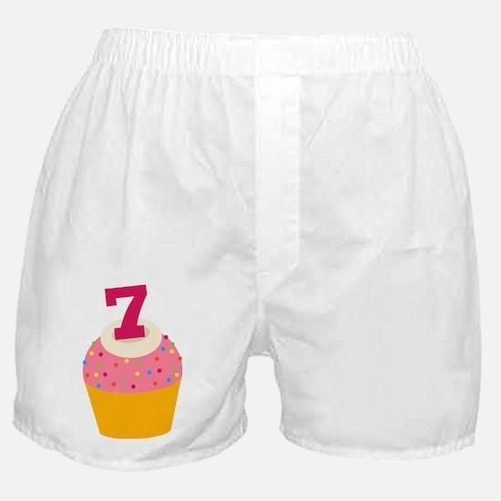 7th Birthday Cupcake Boxer Shorts
