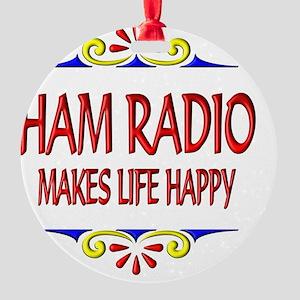 Ham Radio Happy Life Round Ornament