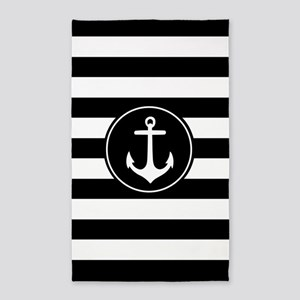 Black Nautical Anchor Stripes 3'X5' Area Rug