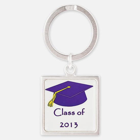 Class of 2013 Purple and Gold Cap Square Keychain