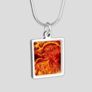 Phoenix Rising Silver Square Necklace