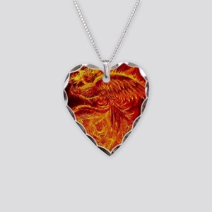 Phoenix Rising Necklace Heart Charm