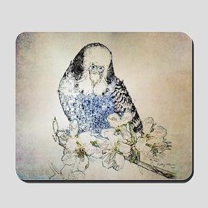 Parakeet 002 - Blue Parakeet on Branch Mousepad
