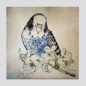 Parakeet 002 - Blue Parakeet on Branc Tile Coaster