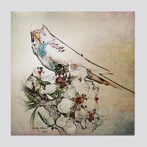 Parakeet 003 - Perched on Branch Tile Coaster
