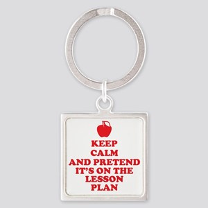 Keep Calm Teachers Square Keychain