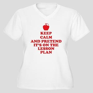 Keep Calm Teacher Women's Plus Size V-Neck T-Shirt