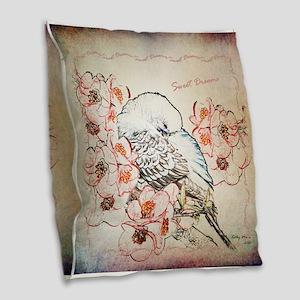 Parakeet Sweet Dreams Durvet Burlap Throw Pillow