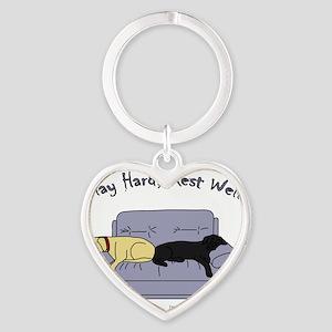 play hard rest well Heart Keychain