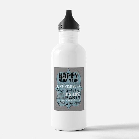 Happy New Year Subway  Water Bottle